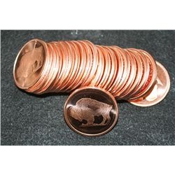 2011 Buffalo Copper Round, .999 Fine 1 Oz., Roll, Lot of 20