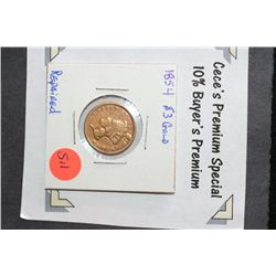 1854 Indian Princess $3 Gold Coin, Repaired  **CeCe's Premium Special 10% Buyer's Premium-The Lot On