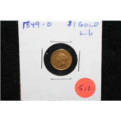 1849-O Liberty $1 Gold Coin