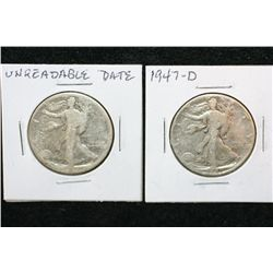 1947-D Walking Liberty Half Dollar & Unreadable Date Walking Liberty Half Dollar, lot of 2