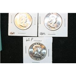 1960-P, 1960-D & 1962-P Ben Franklin Half Dollar, UNC, lot of 3