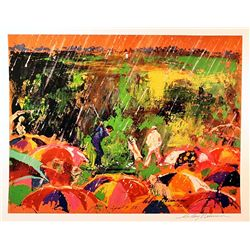 Leroy Neiman Double Signed Lithograph - Arnie in the Rain-