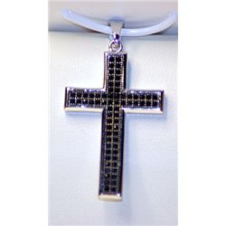 Lady's Fancy Sterling Silver  Cross  Black & White Diamond Pendant