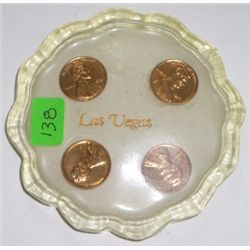 Las Vegas Penny Coaster with 4 MINT Pennies including 61D, 74S, 80P & 81P!!