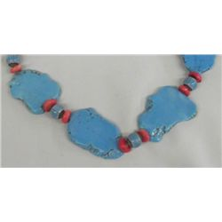 Navajo Turquoise Coral Necklace