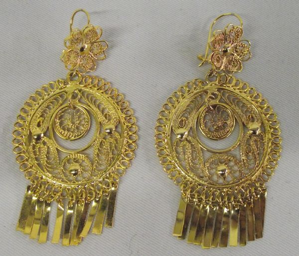Image 1 Mexican Gold Tone Filigree Earrings