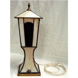 Leaded Glass Stairway Post Lamp