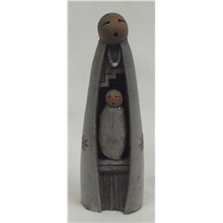 Navajo Sculpture Mother Child - John Whitestock
