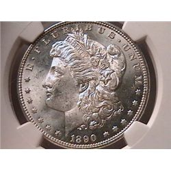 1890 Morgan Dollar Ch MS64 NGC