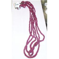 3 Strand Genuine Ruby Necklace, Over 100 Carats low grade but real rubies