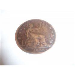 RARE 1884 UK Queen Victoria Halfpenny
