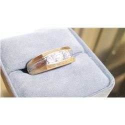 3 Stone Diamond Mens Ring, 14K Gold