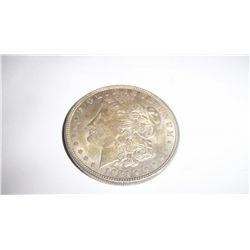 1921 MORGAN SILVER DOLLAR, AU W/YELLOW TONING