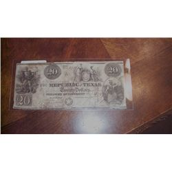 $20 REPUBLIC OF TEXAS NOTE