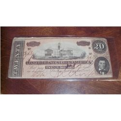 1864 $20 CSA CONFEDERATE CIVIL WAR CURRENCY