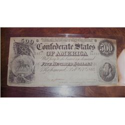 1864 $500 CSA CONFEDERATE CIVIL WAR CURRENCY (taped corner)