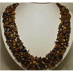 Unusual Multiple Strand Tiger Eye Nugget Necklace MWF17