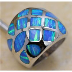 HIGH Fashion Blue fire opal and Silver Ring