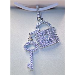 Lady's Very Stylish Sterling Silver  Lock & Key Charms  White Sapphire Pendants