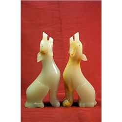 Original Hand Carved Marble  Wolfs  by G. Huerta