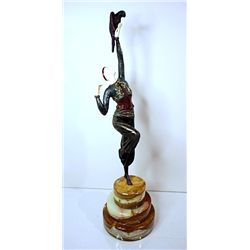 Signed Chiparus Bronze and Ivory - Parrot Dancer