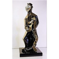 Picasso Bronze Sculpture - Man With Guitar