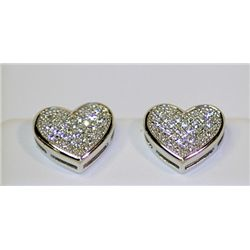 Lady's Fashionable Heart Design Sterling Silver Diamond Earrings