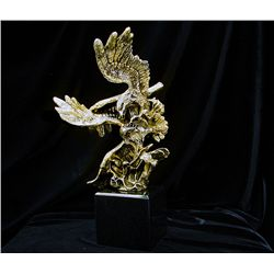 Limited Edition 24K Gold Layered Bronze  Eagle Sculpture by De Lier- Survival