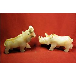 Original Hand Carved Marble  Rhino & Hippo  by G. Huerta