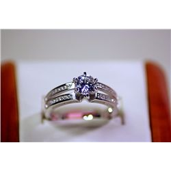 Lady's Antique Style Promise Sterling Silver Cubic Zirconia Ring