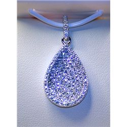 Lady's Very Fancy Sterling Silver  Tear Drop  White Sapphire Pendant