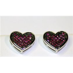 Lady's Fashionable Heart Design Sterling Silver Rhodolite Garnet Earrings