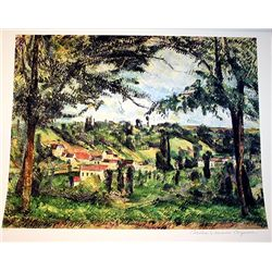 Limited Edition Cezanne- Village Framed By Trees - Collection Domaine Cezanne
