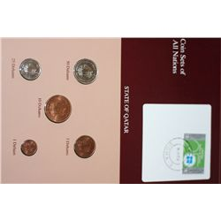 State of Qatar; Coin Sets of All Nations W/Stamp dated 1986