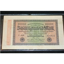 1923 Germany 20000 Swanzigfaulend Mark Foreign Bank Note