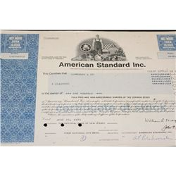 American Standard Inc. Stock Certificate dated 1975