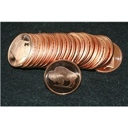 Buffalo Copper Round, .999 Fine 1 Oz., Roll, Lot of 20