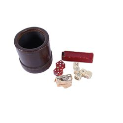 Antique Ivory Dice & Leather Shaker