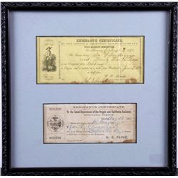 Framed Oregon & CA Railroad Immigrants Certificate