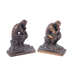 "1928 Bronze Bookends entitled ""The Thinker"""