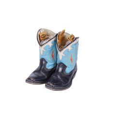 Child's Turquoise & Black Leather Cowboy Boots