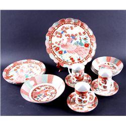 8 Piece Serving of  Imari  Peacock Dinnerware