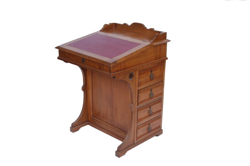- Antique Captain's Desk With Refinished Leather Top