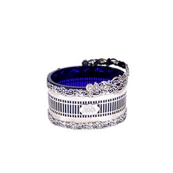 Sterling English Basket with Cobalt Glass