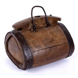 Large Wooden Canteen with Iron Handle