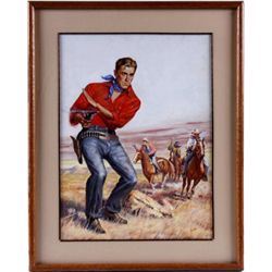 Original Gouache of Cowboy with Single Action