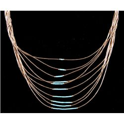 Liquid Gold and Turquoise 10 Strand Necklace