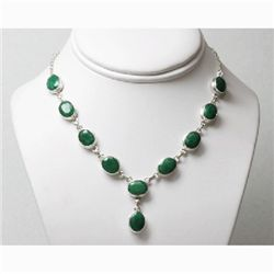 Natural 37.26g Emerald Necklace .925 Sterling Silver