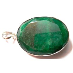 Natural 17.57 g Emerald Long Oval .925 Sterling Pendant