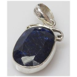 Natural 6.22 g Sapphire Oval .925 Sterling Pendant